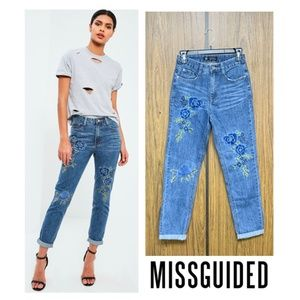 Missguided Jeans - NEW Missguided Floral Embroidered High Waist Jeans